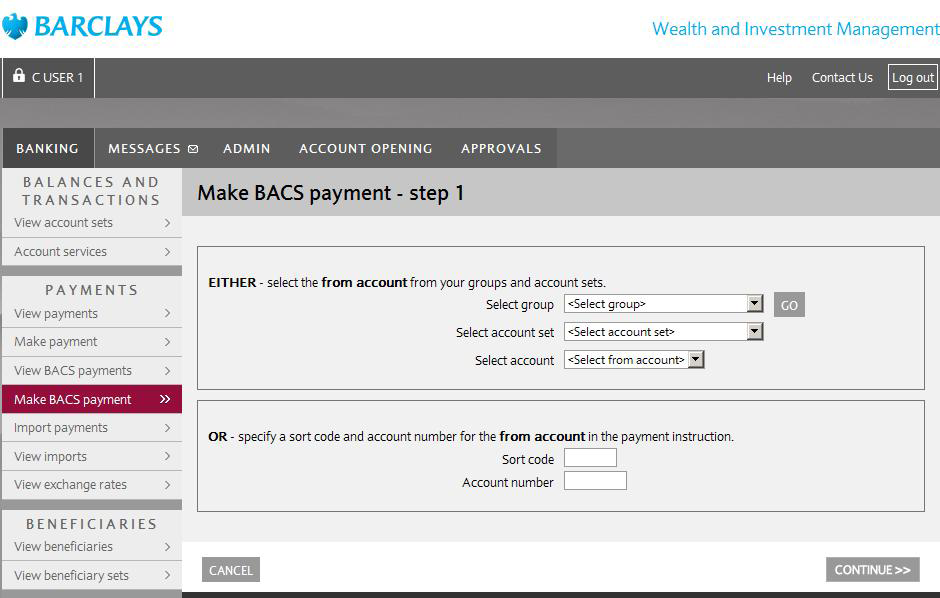 3. Make BACS payments To make a BACS payment to one or more beneficiaries navigate to the Banking tab and select Make BACS payment from the Payments option menu.