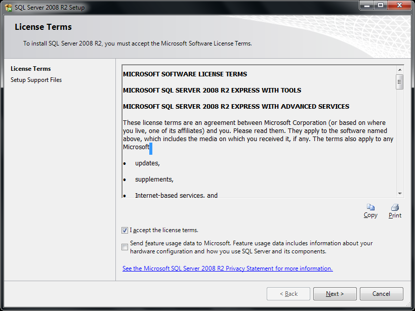 9. The License Terms window will appear. Check the checkboxes for I accept the license terms. 10. Press the Next button.
