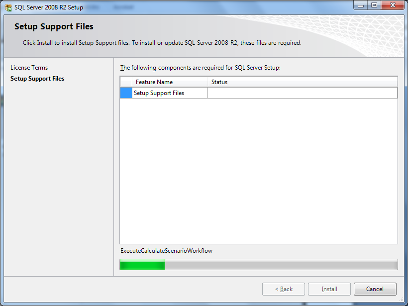 11. The Setup Support files window will appear and will review the system for all necessary components
