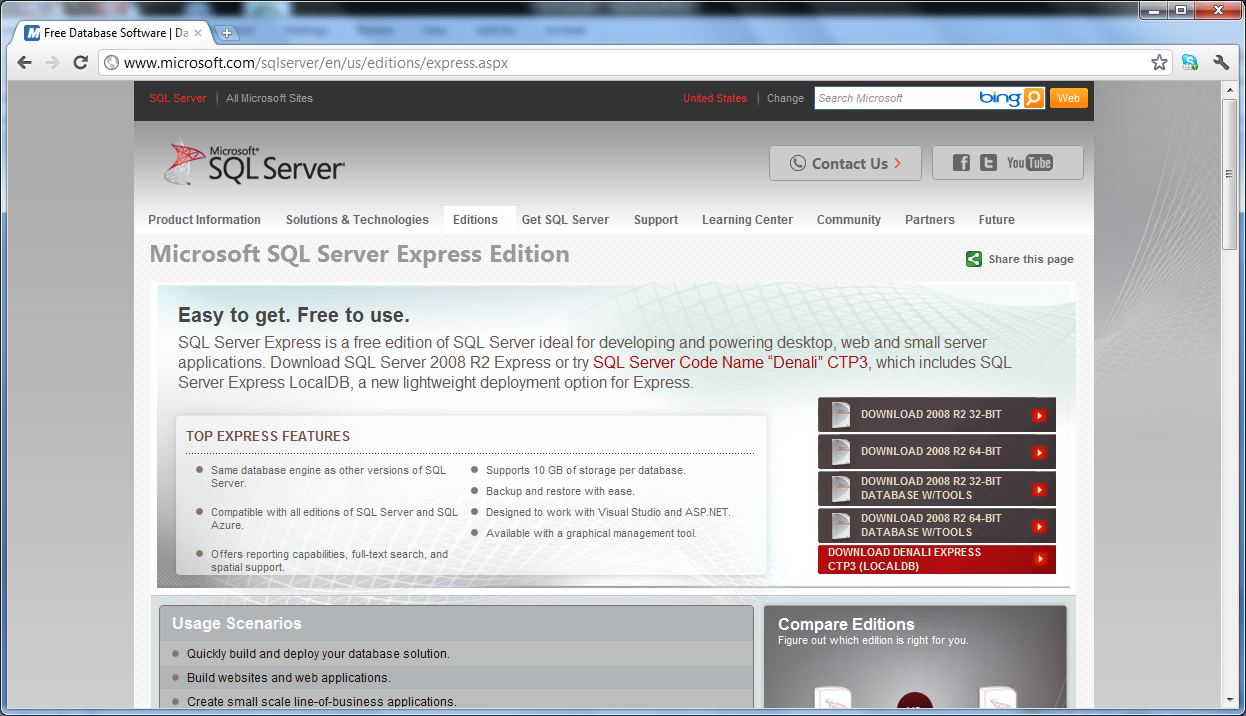 2.0 Installation of Microsoft SQL Server 2008 R2 Express 1. Download Microsoft SQL Server 2008 R2 Express via the Microsoft web site from http://www.microsoft.