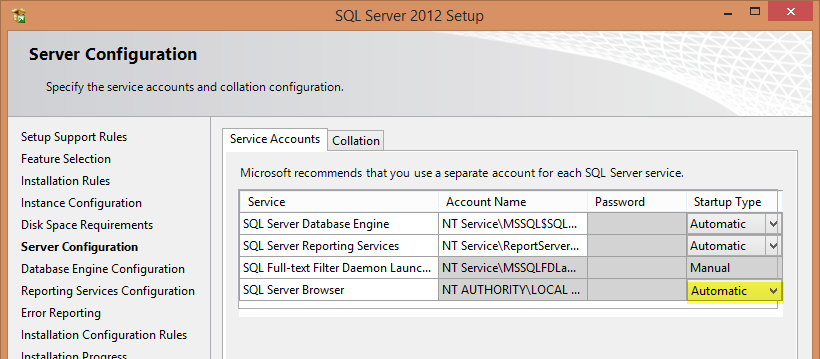 Page 12 On the Server Configuration page, you just need to make one change... change the Startup Type of the SQL Server Browser to Automatic and then click Next.