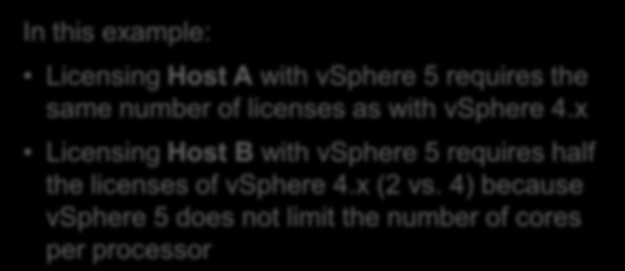 How Many vsphere Licenses Do I Need? Answer In this example: Licensing with vsphere 5 requires the same number of licenses as with vsphere 4.