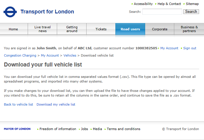 4.1.6 Download a vehicle list Your fleet account enables you to download the contents of your vehicle list to a.csv file.