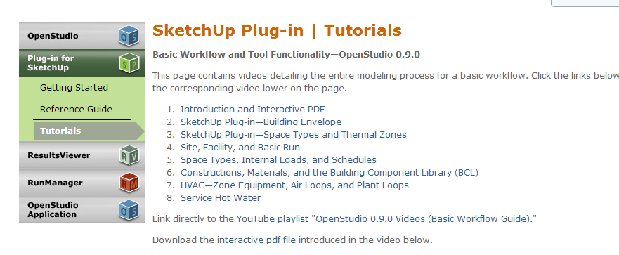 Open Studio HVAC systems The online tutorial is a very addendum