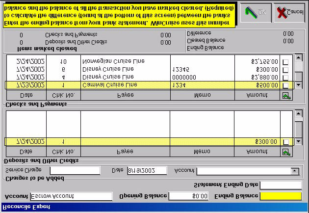 Managing Bank Accounts 2. From the Bank Accounts Screen, choose Actions Reconcile. 3. Enter the Ending Balance and Statement Ending Date. 4.