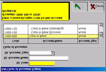 Managing Bank Accounts 2. Enter information in Add Chart of Accounts Expert. Click OK to continue or Cancel to terminate the operation. If you click OK, WinCruise will ask, Are you sure?