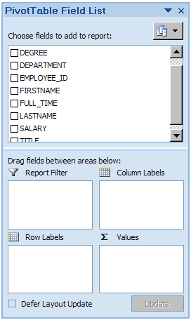 The Select Table dialogue box appears Select the table you want to export to Excel. We are going to use tbl_employees.