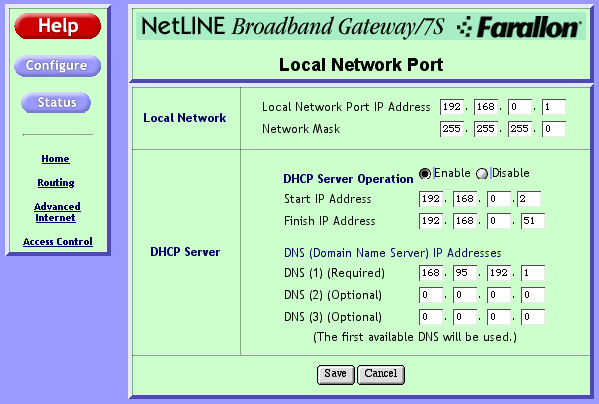 NetLINE configuration 4 configuring the Local Configure the Local Network Port Network Port 1.