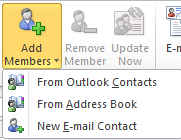 Contact Groups (Distribution Lists): Contact Groups are a grouping of e mail addresses collected under one name. From the bottom left, click Contacts From the Home tab, click New Contact Group.