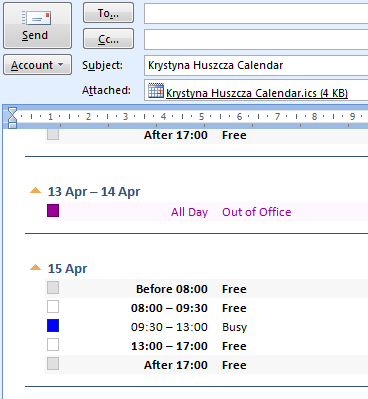 the Send a Calendar by E-mail feature. The feature will get Outlook to create a summary of your busy/free status to the level of detail you decide upon.