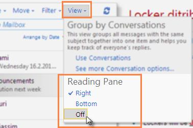 By default, the Reading Pane in Outlook Web Access is displayed on the Right