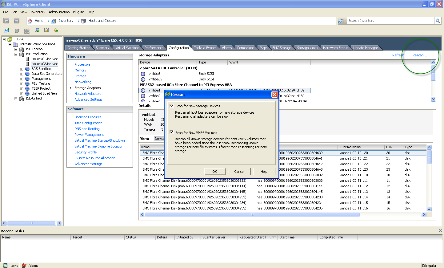 To initiate a scan so that the VMware ESX host can discover the SAP
