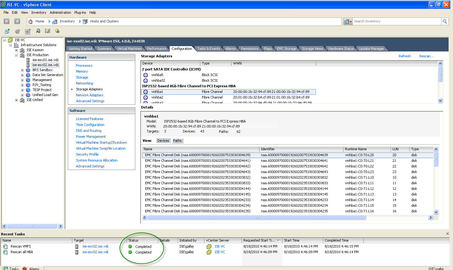Check both boxes if you want to scan for both storage devices and new VMFS volumes. Click OK.