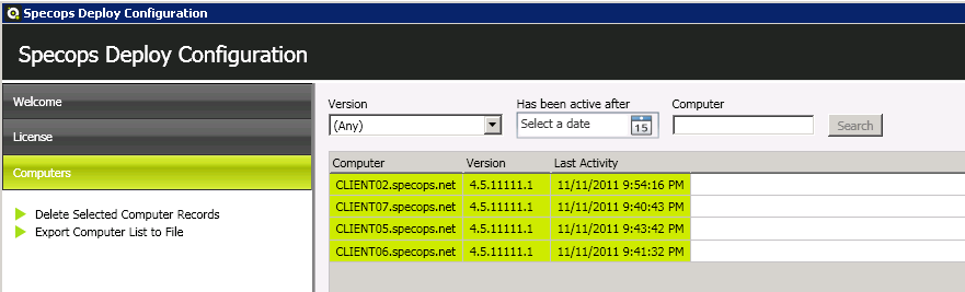 5.1 Using the Specops Deploy Configuration Tool to manage computers All clients with an active Specops Deploy Client Side Extension (CSE) will send a heartbeat to the central Specops Deploy Server.