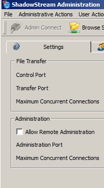 4. If remote access to the admin console is needed it can be enabled on the Settings tab. After checking the Allow Remote Administration box, a pop-up message will prompt you to restart the server.