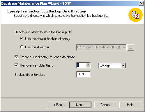 12. Select to create a separate sub-directory for each backup and then select to remove backups that are more than 1 week old 13.