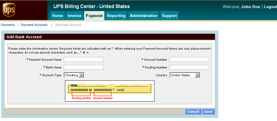 Payment (cont.) Payment Accounts (cont.) Next, the screen to add bank account information will be displayed.