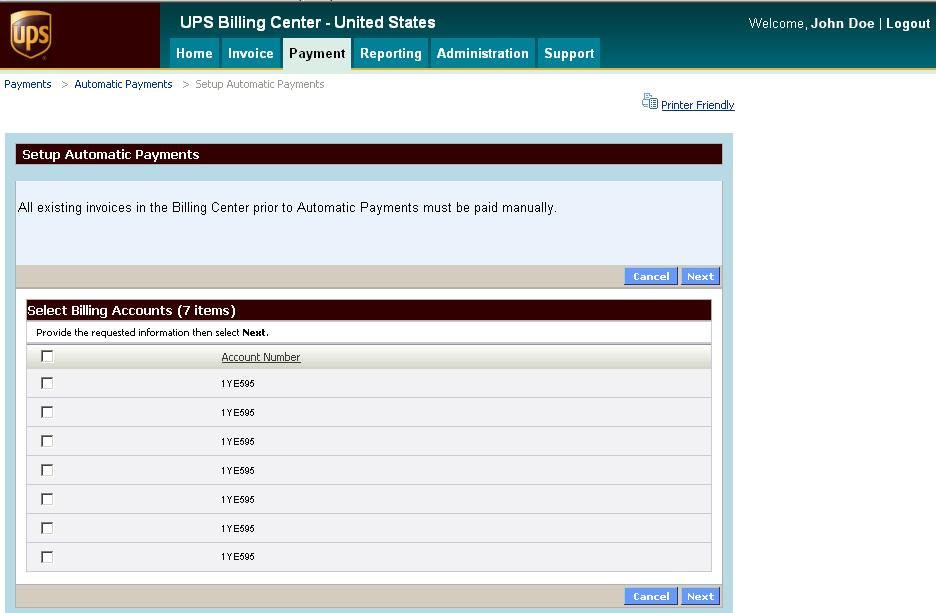 Payment (cont.) Automatic Payments Automatic Payments allows you to set up payments for any invoice presented in the UPS Billing Center.
