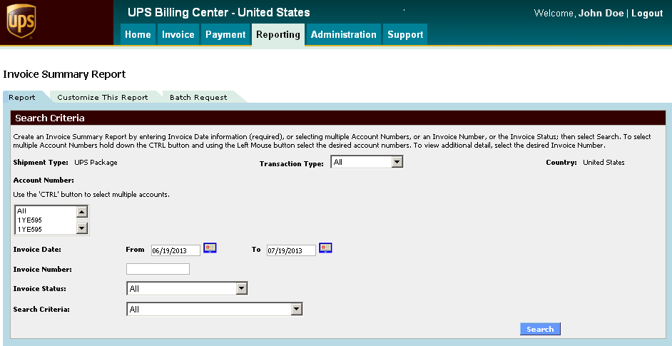 Reporting Six Standard Reports are available in the UPS Billing Center. You can create reports to provide insight into shipping costs.