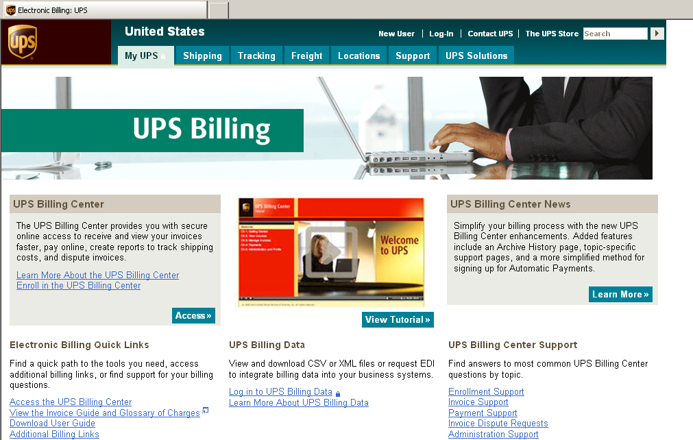 Accessing the UPS Billing Center (cont.) To enroll, select Enroll in the UPS Billing Center link. If you have enrolled previously in the UPS Billing Center, select Access.