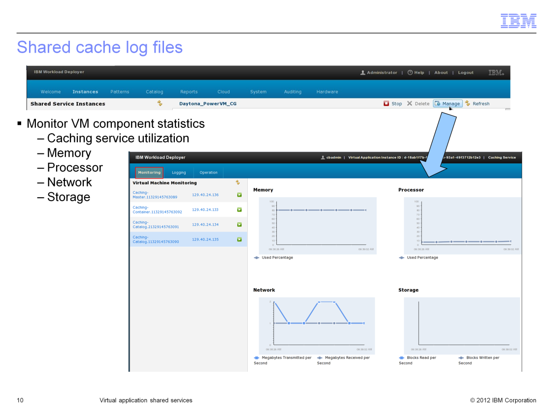 To monitor the VM details of your shared cache, click the Manage button located in the upper right corner of your Instances > Shared Services panel.