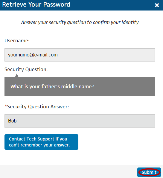 Step 3 In the dialog box that displays, enter the answer to the security question and click Submit.