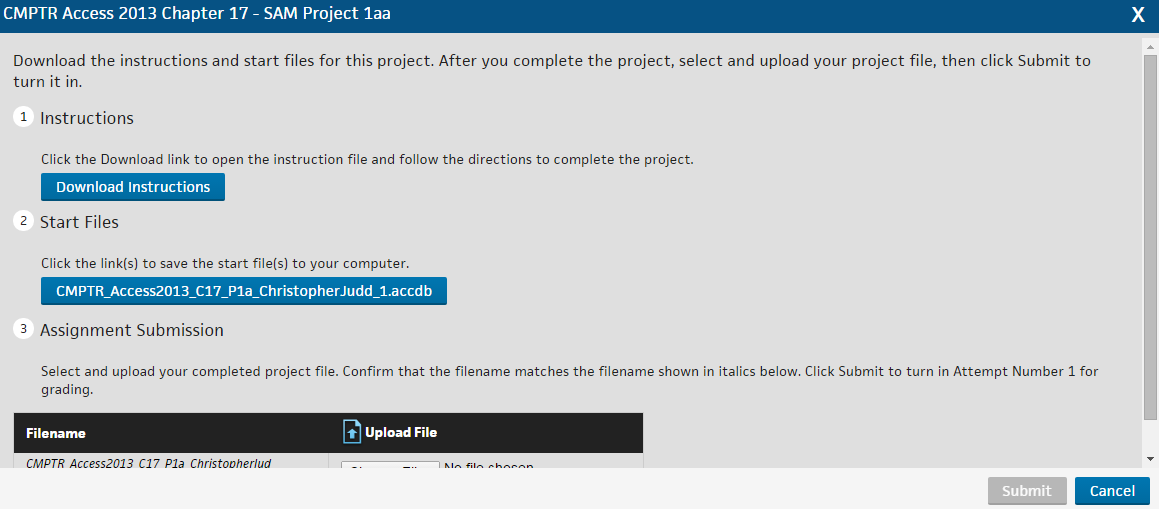 Step 3 Click Start to display the project instructions. Result: The Project Instructions, Start File and Assignment Submission window displays.