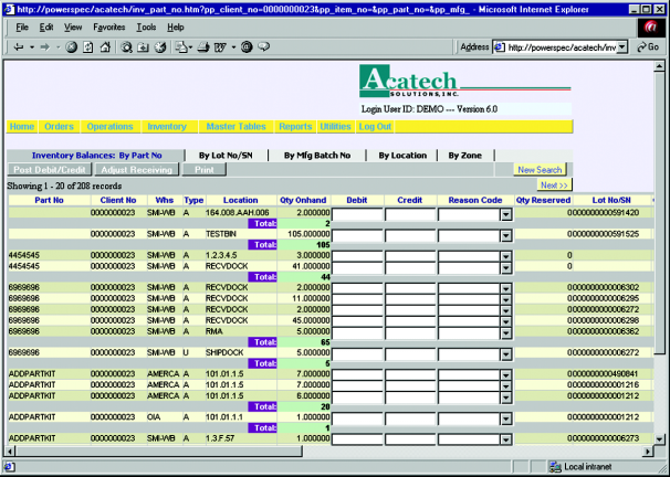 Inventory Inventory Some Main Features: Supports single or multiple warehouse / distribution sites Detailed audit trail, logged by transaction, operator Id, date and time stamp Systematic adjustment