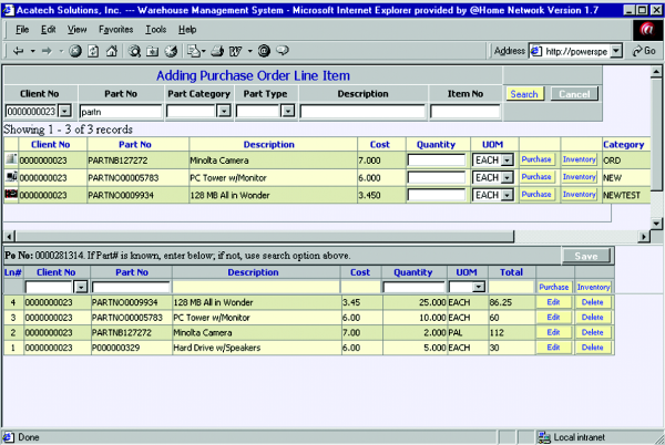 Purchase Order Purchase Order Some Main Features Comprehensive vendor tables consist of discount levels, minimum order quantities, lead time, all definable on an item level Support