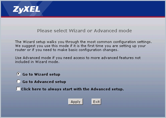 4 Click Go to Wizard setup, and then click Apply. P-791R v2 Quick Start Guide 5 Click Internet Setup. 6 Follow the directions in this wizard to set up your Internet connection.