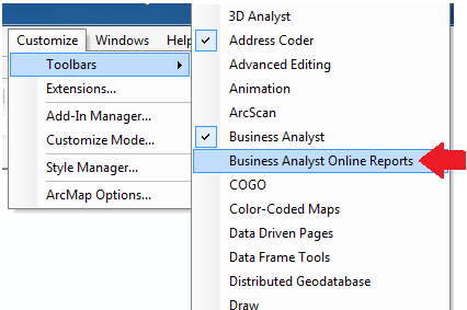 2. Click OK after installation succeeded in the Esri ArcGIS Add-In Installation Utility C. Set-Up Reports Add-In for ArcGIS Desktop i. Turn on Business Analyst Online Reports Extension 1.