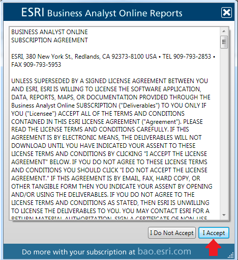 4. The Esri Business Analyst Online Reports wizard will authorize your Esri Global Account Note: You do not need to complete any actions during this