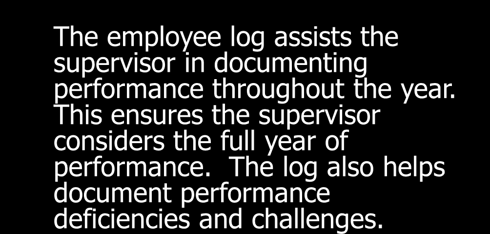 Review of performance management techniques Employee Log: Employee Performance Log Employee Name: Evaluation Period: Date Performance Item Feedback Provided to Employee (Yes/No) If Yes, Date 6/6/05