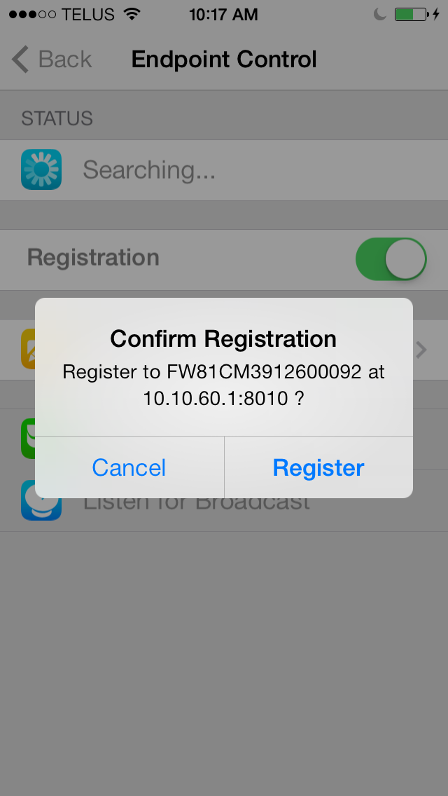 [Alternatively, you can select specify Preferred Host and enter the host name or IP and port number.] 4. Select Register to register your FortiClient ios device with the FortiGate.