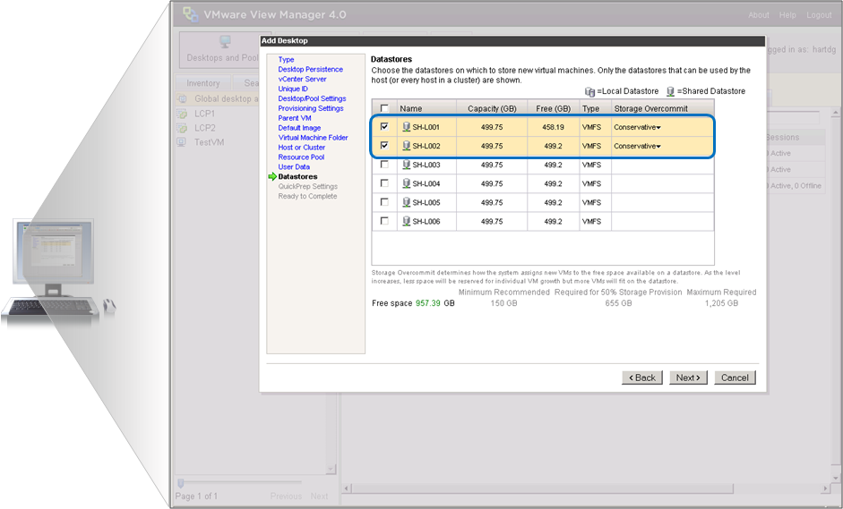 Lab Validation: HP StorageWorks P4000 SAN 14 Figure 12 shows the datastore selection screen.