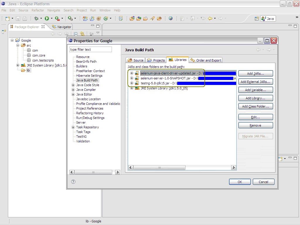 Added libraries would appear in Package Explorer as