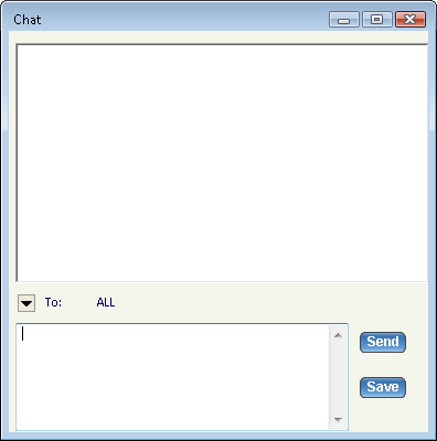 Chat button In the Chat window you have the option of choosing the attendees with whom you want to chat. Click the drop-down arrow and select the attendees.