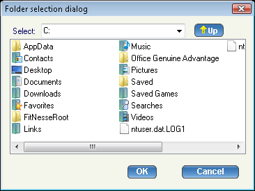 File Transfer dialog Select a particular folder from the drop-down list. All the folders and files in that directory are displayed.