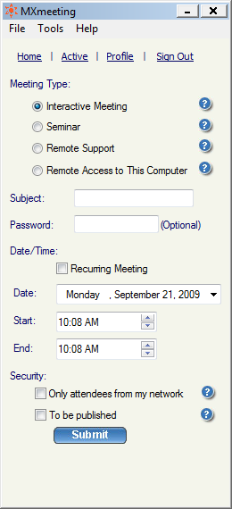 3. Select the Meeting Type. 4. Mention the Subject of the meeting. Scheduling meetings 5. Enter the Password, which is optional for all meeting types but Remote Access to this Computer. 6.