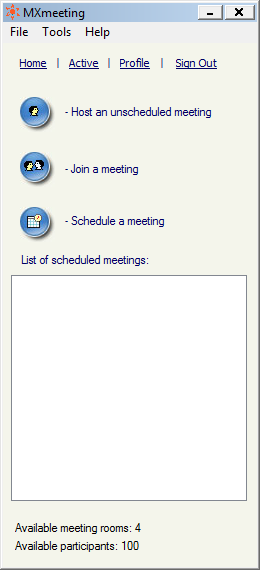 o o Join a meeting Schedule a meeting Meeting control pane Click Host an unscheduled meeting to host an impromptu meeting. 4.