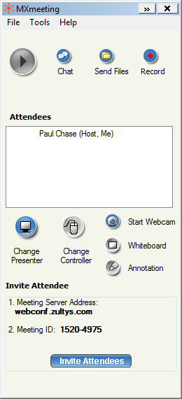 Meeting screen You can now invite attendees to join the meeting. To invite attendees: 7. Click Invite Attendees.