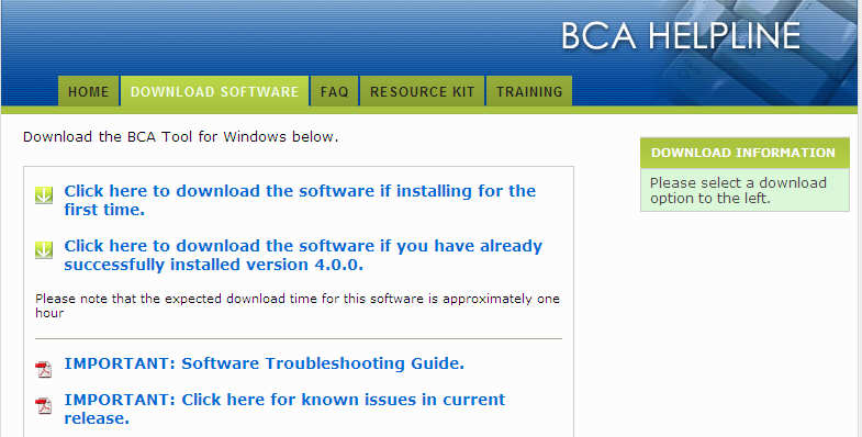 Download BCA Software (and Hazard Data, if needed) 1. Go to http://www.bcahelpline.com/index.html and click on the Download Software tab.
