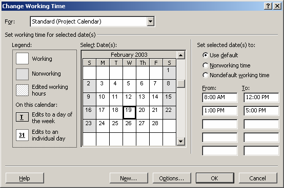 To set up an alternate calendar for the project (for example, a 4-day work week, 10 hours