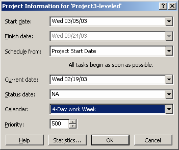 The project information window will appear where the