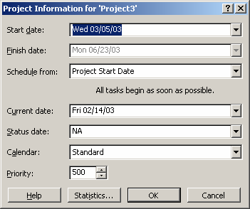 To view the resulting overall project schedule, select Project/Project Information from the main