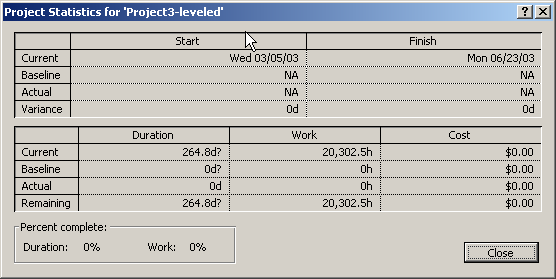 By clicking on the Statistics button in the Project Information window, the