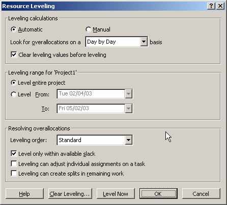 To open the Resource Leveling dialog box, click