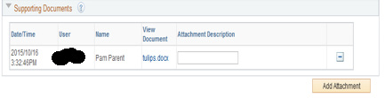 Once the attachment is successfully uploaded it will appear in View Document. Note: 1. Multiple attachments can be uploaded and will appear as a list 2.