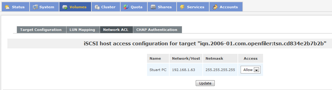 18. Click on the Add button to create a new iscsi target. Once you have created your iscsi target click on the LUN Mapping tab. 19.