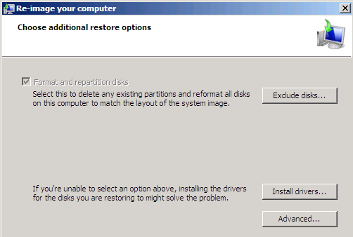 7. The Select a system image backup window will open Select either use the latest available system image (recommended) or Select a system image.